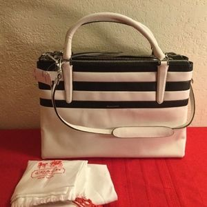 NEW Authentic Coach Leather Satchel Carryall B&W